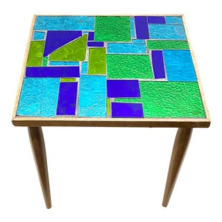 Mid Century Georges Briard Blue and Green Mosaic Tile Side Table For Sale