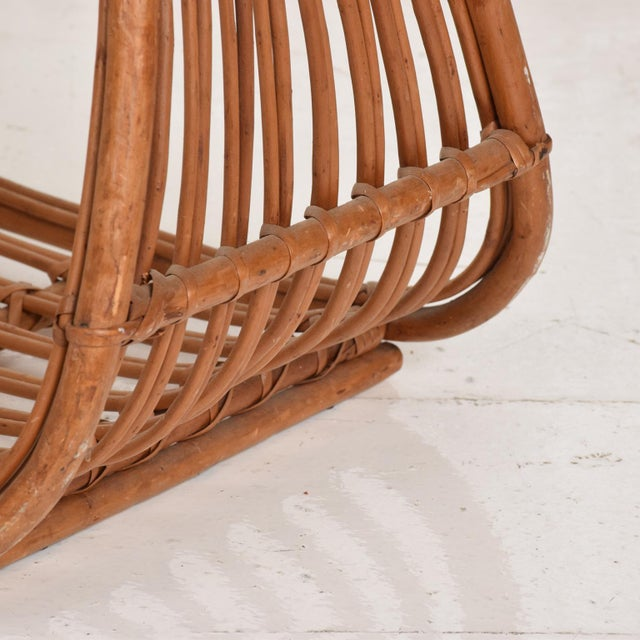 Brown Franco Albini Italian Mid-Century Modern Magazine Rack Holder Basket For Sale - Image 8 of 11