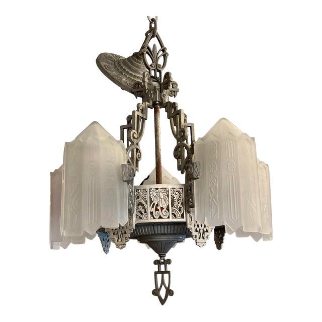 Antique Art Deco 5 Light Chandelier For Sale