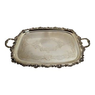 Antique English Sheffield Silver Plate Tray For Sale