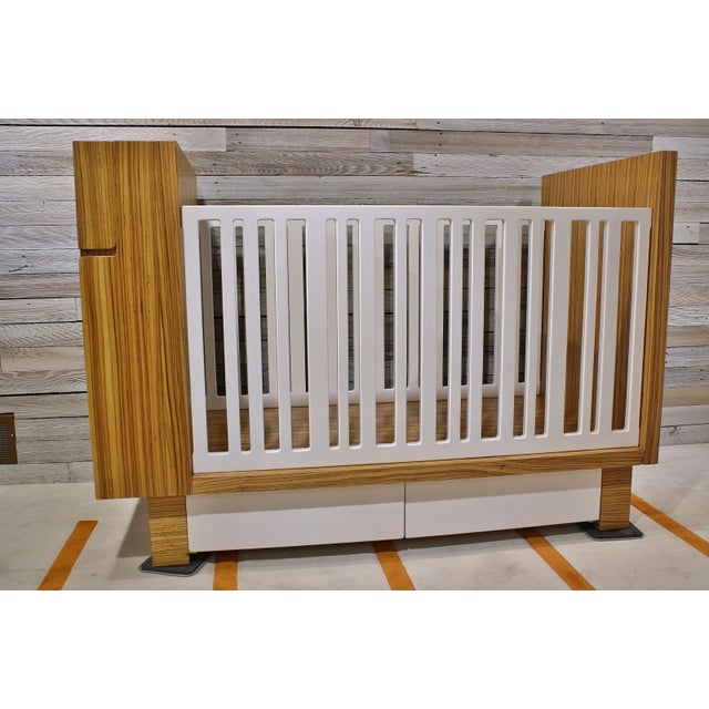 Modern Zebrawood Crib and Built-In Changing Table For Sale - Image 4 of 5