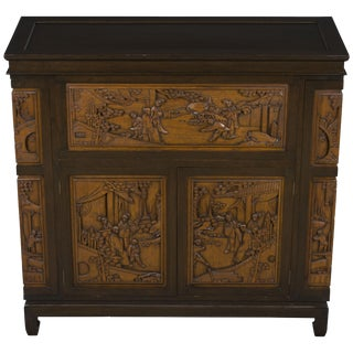 1960s Chinoiserie Style Wood Bar Cabinet For Sale