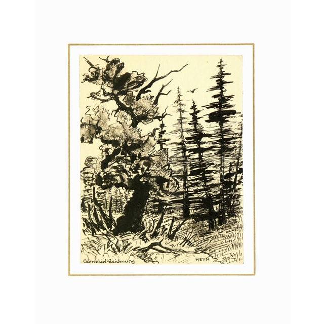 Vintage 1930s Forest Pen and Ink Drawing - Image 4 of 4