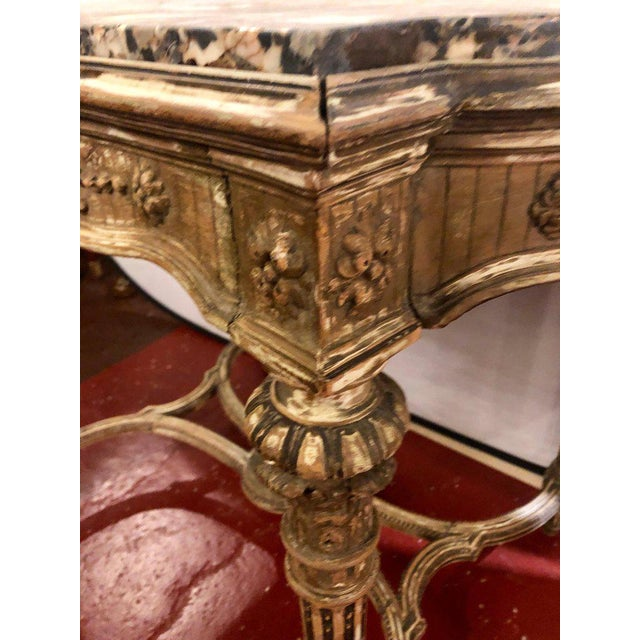 Louis XVI Style Distressed Paint Decorated 19th Century Marble Top Center Table For Sale In New York - Image 6 of 12