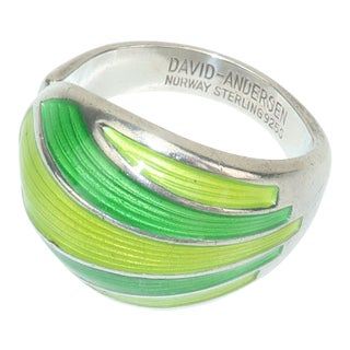 1960s David Andersen Modernist Sterling Silver & Green Enamel Ring For Sale