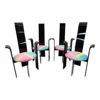 1970s Memphis Style Vintage Black Lacquer and Lucite Acrylic Chairs- Set 4 For Sale