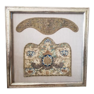 18th C European Textile in Custom Frame For Sale