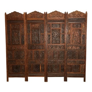 Late 18th Century Anglo Indian Carved Teak Four Panel Screen For Sale