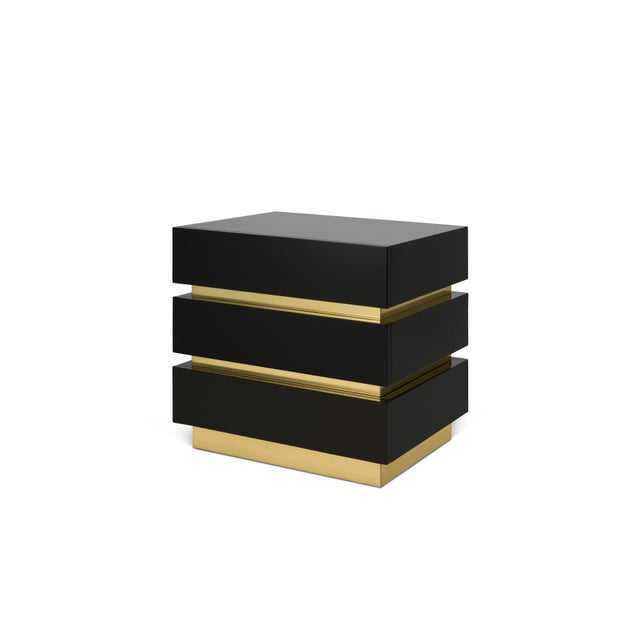 Banded Nightstand in Black / Brass - Flair Home for The Lacquer Company For Sale - Image 4 of 5