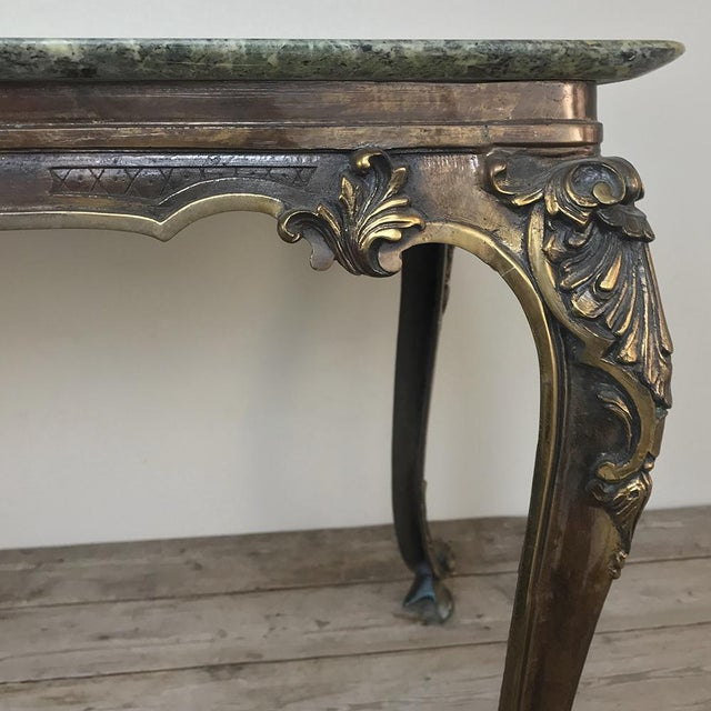 Mid-Century Italian Louis XIV Brass & Marble Coffee Table For Sale In Dallas - Image 6 of 12