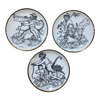 Vintage 1950's Signed Fornasetti Small Monkey Coasters Plates - Set of 3 For Sale