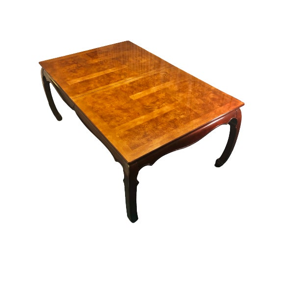 Regency Universal Furniture Mahogany Burled Ashwood Asian Dining Table. Hand carved, solid wood dining table, with...