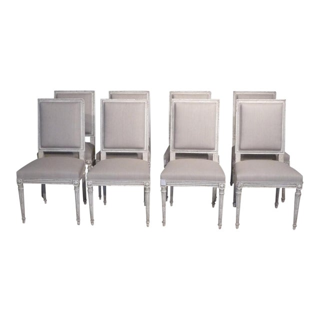Set of 10 Louis XVI Style Dining Chairs For Sale