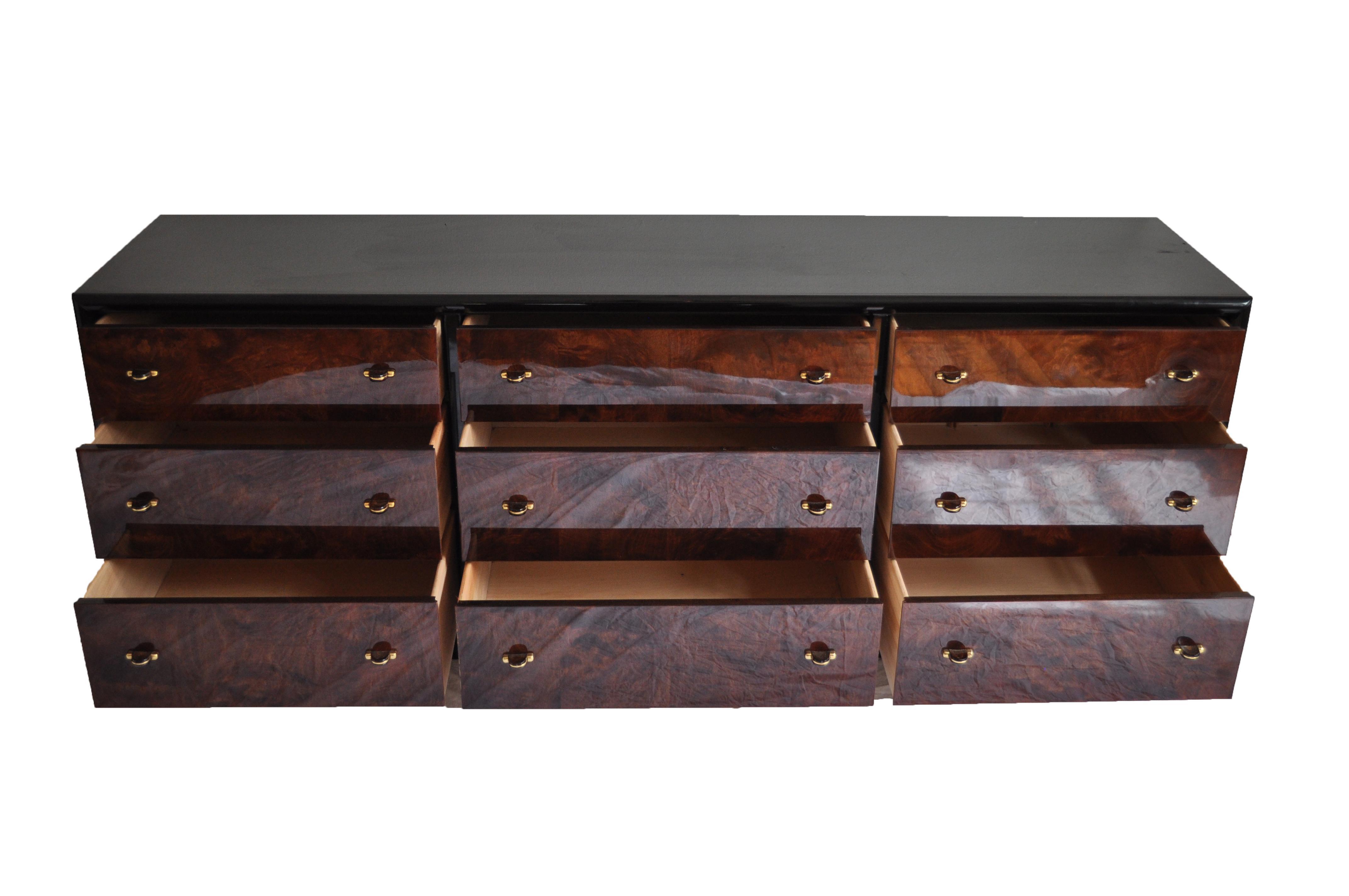 Henredon Black Lacquer U0026 Burled Wood 9 Drawer Chest Of Drawers   Image 3 ...