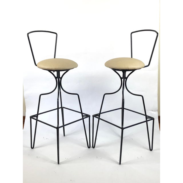 Mid-Century Modern Mid Century Wrought Iron Swivel Bar Stools - a Pair For Sale - Image 3 of 10