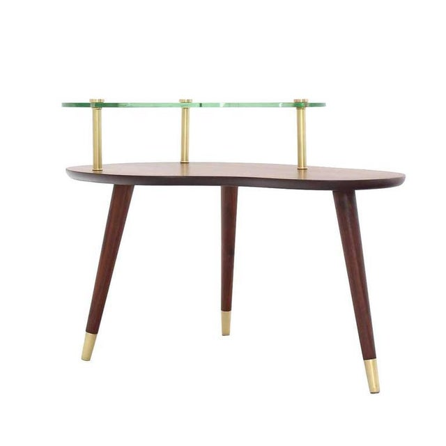 Vintage Mid Century Walnut Glass & Brass Organic Shape Side Table For Sale - Image 6 of 10
