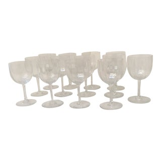1970s Baccarat Montaigne Optic Water Goblets - Set of 13 For Sale