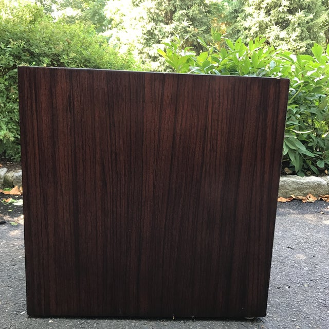 Mid-Century Modern Wood Veneer Waterfall Table For Sale - Image 4 of 10