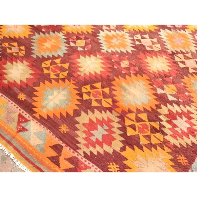 1960s Burnt Orange Vintage Turkish Kilim Rug For Sale - Image 5 of 11