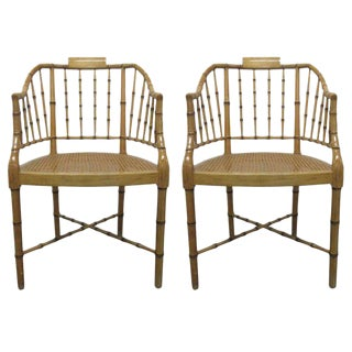 Pair Faux Bamboo Chairs For Sale
