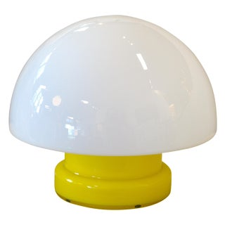Mid Century Modern Swedish Yellow Glass Mushroom Table Lamp For Sale