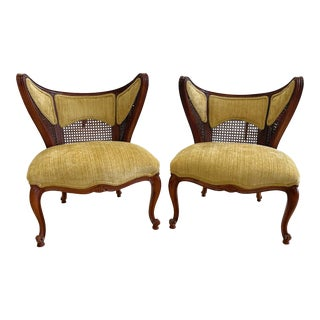 Mid-Century French Wood and Cane Butterfly Slipper Chairs - a Pair For Sale