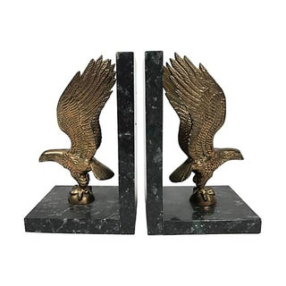 Marble & Brass Eagle Bookends, Pair Preview