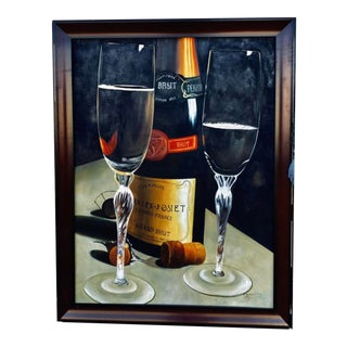 """""""Brut Champagne"""" Genuine Commissioned Oil Painting on Canvas For Sale"""