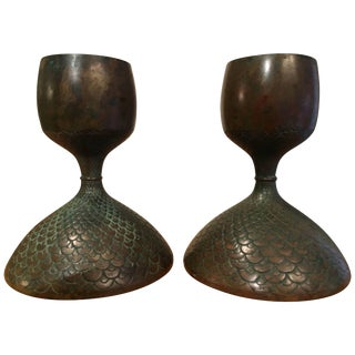 Pair of Bronze European Candle Sticks For Sale
