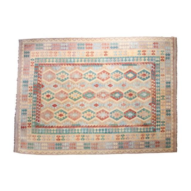 "Geometric Medallion Kilim Carpet - 8'2"" X 11'3"" For Sale"