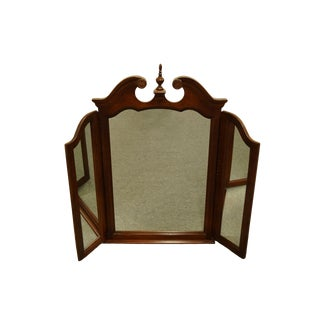 Universal Furniture Traditional Style Cherry Tri Fold Dresser Mirror For Sale