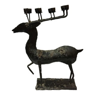 Vintage Wrought Iron Deer Sculpture Candelabra For Sale