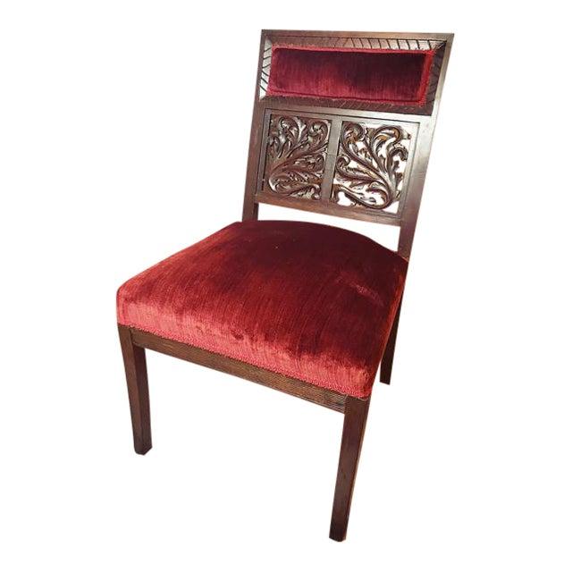 Antique Carved Walnut Red Velvet Chair For Sale - Antique Carved Walnut Red Velvet Chair Chairish
