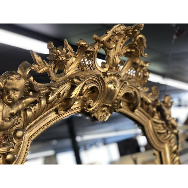 19th Century French Napoleon III Gold Leaf Mirror For Sale - Image 9 of 13
