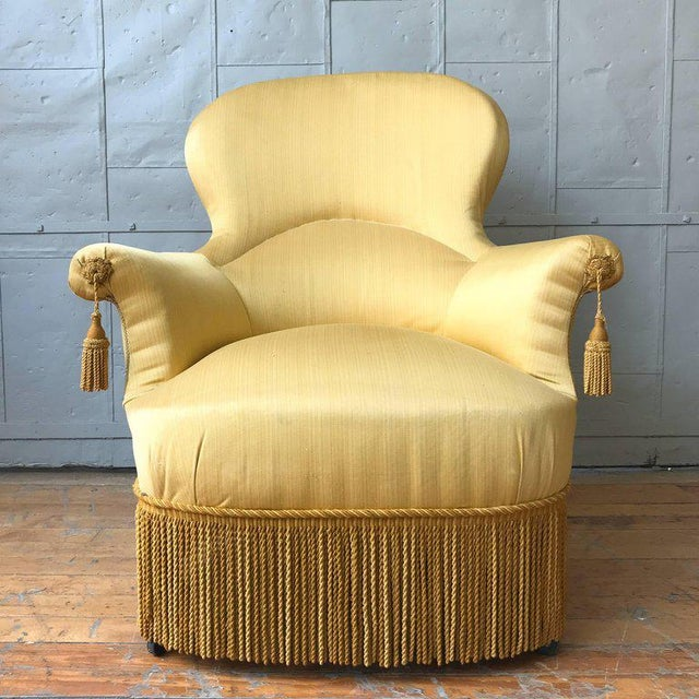 Pair of Large Napoleon III Armchairs in Yellow Fabric - Image 2 of 8