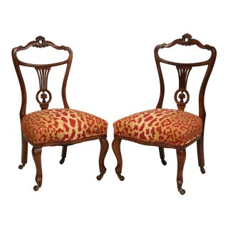 Victorian Style Mahogany Parlor Chairs - a Pair For Sale
