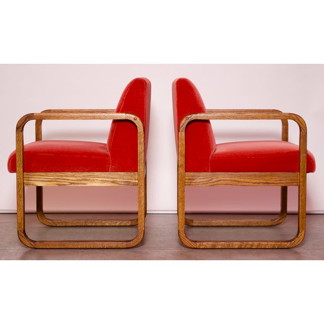 Abstract 1970s Mid-Century Modern Crimson Mohair Accent Chairs - a Pair For Sale - Image 3 of 13