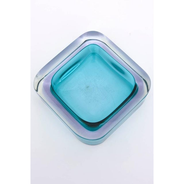 Italian Flat Cut Polished Cenedese Sommerso Square Glass Bowl - Image 9 of 9