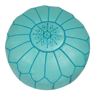 Light Teal Leather Pouf