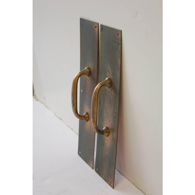 Antique Copper and Brass Entry Door Pull Hardware- A Pair For Sale - Image 4 of 4