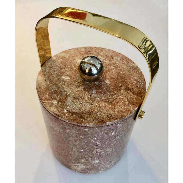 Mid-Century Heavy Solid Marble & Brass Ice Bucket For Sale - Image 9 of 9