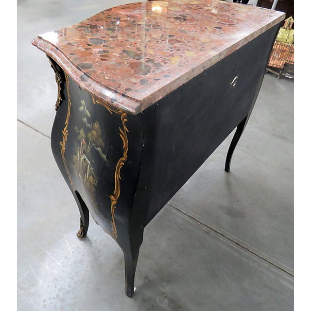 Louis XV Style Chinoiserie Marble Top Bombe Commode For Sale In Philadelphia - Image 6 of 10