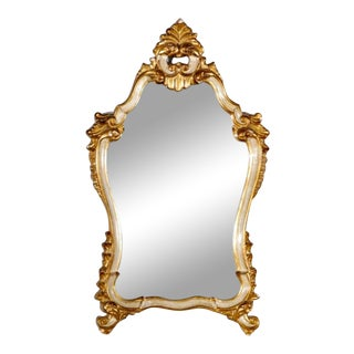 Italian Rococo Style Parcel Giltwood Wall Hanging Mirror For Sale