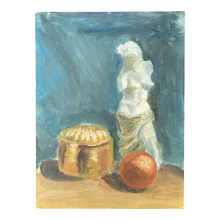 Statue and Orange Still Life Painting on Board For Sale