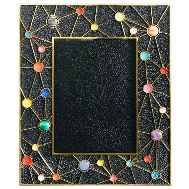 Shagreen With Multi-Color Stones Photo Frame by Fabio Ltd For Sale - Image 10 of 10