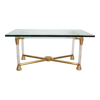 Brass and Glass Python Cocktail Table For Sale