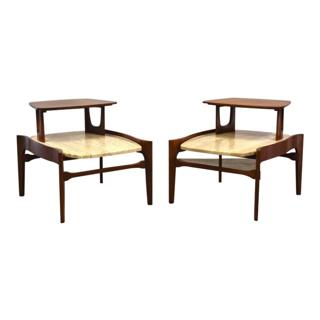 Bertha Schaefer Walnut and Travertine End Tables - a Pair For Sale