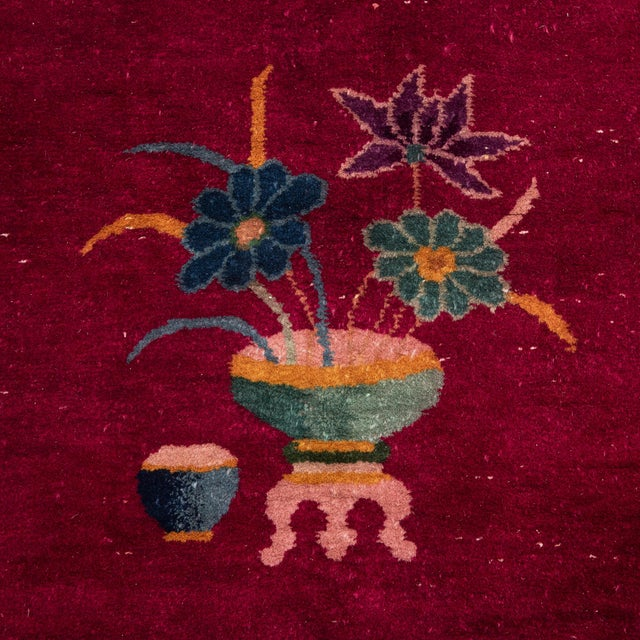 Magenta Chinese Deco Carpet For Sale - Image 9 of 11