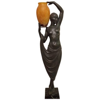 """Grecian Lady With Urn"" Fayral Art Deco Bronze Nude With Daum Nancy Electrified Urn For Sale"