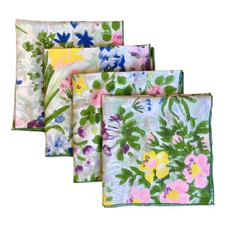 Vintage Watercolor Floral Linen Napkins - Set of 4